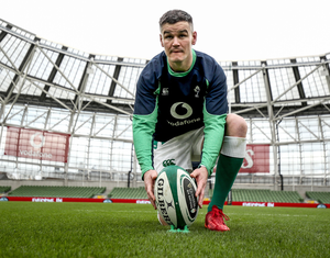 Big role: Johnny Sexton during his captain's run at the Aviva yesterday