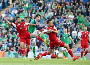 Pacemaker Belfast 27-5-16 Northern Ireland v Belarus - International Friendly Northern Ireland's Kyle Lafferty and Belarus Egor Filipenko during tonight's game at Windsor Park, Belfast.  Photo by David Maginnis/Pacemaker Press