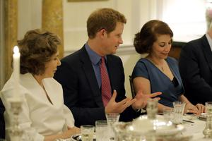 WASHINGTON, DC - MAY 09:  (L-R) Teresa Heinz, HRH Prince Harry and Lady Westmacott attend a dinner at the British Ambassador's residence on May 9, 2013 in Washington,DC. (Photo by Alex Brandon - Pool/ Getty Images)