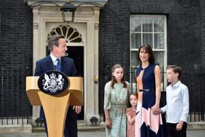 David Cameron makes a speech outside 10 Downing Street in London, with wife Samantha and children Nancy, 12, Elwen, 10, and Florence, 5, before leaving for Buckingham Palace for an audience with Queen Elizabeth II to  formally resign as Prime Minister. PRESS ASSOCIATION Photo. Picture date: Wednesday July 13, 2016. See PA story POLITICS Conservatives. Photo credit should read: Hannah McKay/PA Wire