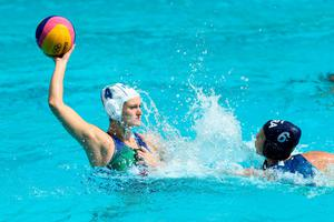RIO DE JANEIRO, BRAZIL - AUGUST 09: Marina Canetti of Brazil shoots over Rosaria Aiello of Italy   during the Preliminary Round, Group A Womens Waterpolo match between Italy and Brazil on Day 4 of the Rio 2016 Olympic Games at the Maria Lenk Aquatics Centre on August 9, 2016 in Rio de Janeiro, Brazil.  (Photo by Phil Walter/Getty Images)