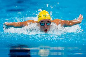 RIO DE JANEIRO, BRAZIL - AUGUST 09:  Brianna Throssell of Australia competes in the Women's 200m Butterfly heat on Day 4 of the Rio 2016 Olympic Games at the Olympic Aquatics Stadium on August 9, 2016 in Rio de Janeiro, Brazil.  (Photo by Clive Rose/Getty Images)