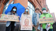 A Level and GCSE students hold a protest at the Education AuthorityÕs office buildings on Academy Street in Belfast City Centre.  Picture by Jonathan Porter/PressEye