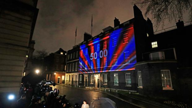 A countdown clock is projected onto 10 Downing Street, ahead of the UK leaving the European Union at 11pm, ending 47 years of close and sometimes uncomfortable ties to Brussels. PA Photo. Picture date: Friday January 31, 2020. See PA story POLITICS Brexit. Photo credit should read: Aaron Chown/PA Wire