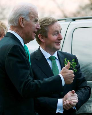 US Vice President Joseph Biden (L) welcomes Prime Minister Enda Kenny of Ireland to the Naval Observatory on March 17, 2015 in Washington, DC. Vice President Biden hosted a breakfast for the Irish Prime Minister in honor of St. Patricks Day  (Photo by Mark Wilson/Getty Images)