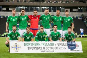 Northern Ireland team before the UEFA European Championship Qualifying match at Windsor Park, Belfast. PRESS ASSOCIATION Photo. Picture date: Thursday October 8, 2015. See PA story SOCCER N Ireland. Photo credit should read: Liam McBurney/PA Wire.