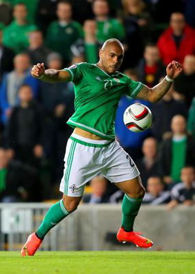 Northern Ireland's Josh Magennis in action during the UEFA European Championship Qualifying match at Windsor Park, Belfast. PRESS ASSOCIATION Photo. Picture date: Thursday October 8, 2015. See PA story SOCCER N Ireland. Photo credit should read: Niall Carson/PA Wire.