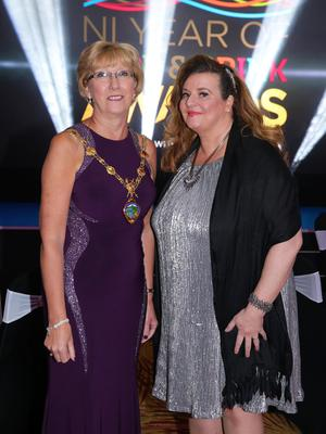 Press Eye - Belfast - Northern Ireland - 2nd February 2017 -    NI Year of Food & Drink Awards at the Culloden Hotel.  Ald. Hilary McClintock, Mayor Derry City and Strabane District Council and Mary Blake, Tourism Manager Derry City and Strabane District Council pictured at the NI Year of Food & Drink Awards at the Culloden Hotel.  Photo by Kelvin Boyes / Press Eye.