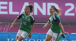 And what a night it would be as Louise McDaniel netted Northern Ireland first ever women's goal at a major tournament.