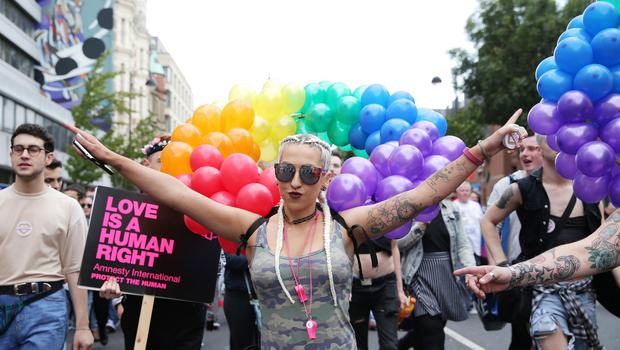 Press Eye - Belfast - Northern Ireland - 6th August 2016   Belfast Pride Festival 2016  Thousands of people take part in the annual Belfast Gay Pride event in Belfast city centre celebrating Northern Ireland's LGBT community.  Photo by Kelvin Boyes / Press Eye