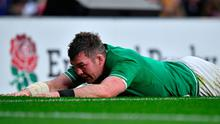 Ireland's flanker Peter O'Mahony reacts as his side are floored by England.