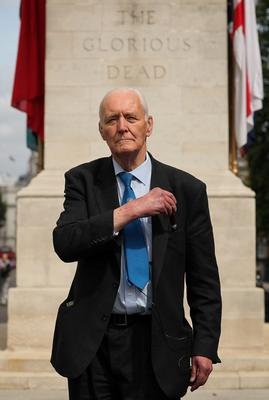 LONDON, ENGLAND - AUGUST 17: Former Labour MP Tony Benn arrives to lay a wreath at the Cenotaph on Whitehall at a Ceremony for the 204 dead Soldiers on August 17, 2009 in London, England. A milestone figure was reached on Satuurday when the 200th British Soldier died in Afghanistan. Four more soldiers lost their lives over the weekend bringing the total dead to 204, with 13 losing their lives this month alone. (Photo by Dan Kitwood/Getty Images)