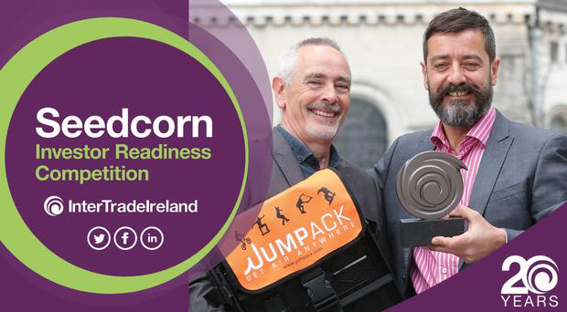 Jumpack Ltd was named the Northern Ireland regional winner for Best New Start Company in 2018, winning €20,000 to help finance the early stages of the venture. Pictured are Michael Crowe and Philip McIntosh, Jumpack Ltd.