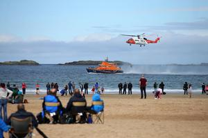 Press Eye - Belfast - Northern Ireland - 4th September 2016 -   General view Irish Coast Guards S-92 at the Air Waves Portrush, Northern Ireland International Airshow. Organised by Causeway Coast and Glens Borough Council, over 100,000 spectators descended upon PortrushÕs eastern shoreline for two days of flying displays by some of the worldÕs most famous aviation attractions.  Photo by Kelvin Boyes / Press Eye