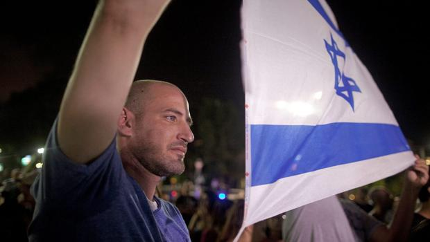 Left wing Israelis take part in a protest against Israel's military operation in the Gaza Strip on July 19, 2014 in Tel Aviv, Israel.  (Photo by Lior Mizrahi/Getty Images)