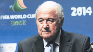 Hanging on: Fifa president Sepp Blatter faced one of the most hostile meetings of his tenure in Sao Paolo yesterday
