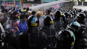 Loyalists protesters riot at Royal Avenue  in Belfast City centre as Republicans  were to hold an anti-internment parade along Royal Avenue on Friday evening. Pic Colm Lenaghan/Pacemaker