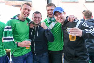 Picture - Kevin Scott / Presseye  Thursday 8th October 2015 - Belfast Northern Ireland - Northern Ireland vs Greece FANS  Pictured is Northern Ireland fans Adam Shilliday, Stuart Mclees, Trevor Henderson and Glen Muir at Laverys bar in Belfast ahead of the Euro Qualifier at Windsor Park.   Picture - Kevin Scott / Presseye