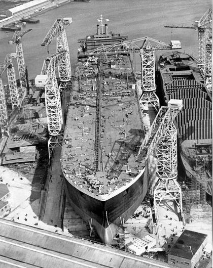 An aerial view of the launch of the tanker Myrina. 7/9/1967