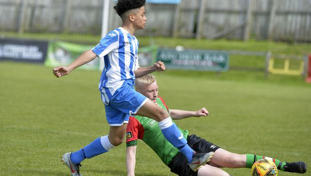 1st August 2019  Statsports Supercup NI 2019  Minor section semi final  match between Glentoran and Finn Harps at Seahaven in Portstewart. Glentorans Brendan Hamilton in action with Finn Harps  Aaron McLaughlin  Mandatory Credit : Stephen  Hamilton/Presseye