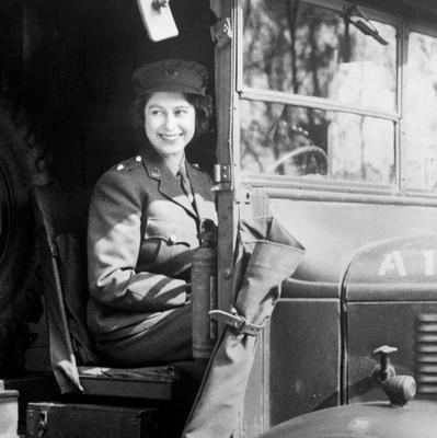 File photo dated 01/01/1945 of Princess Elizabeth (now Queen Elizabeth II) at the wheel of an Army vehicle when she served during the Second World War in the Auxiliary Territorial Service as the Queen turns 90 on the April 21st.