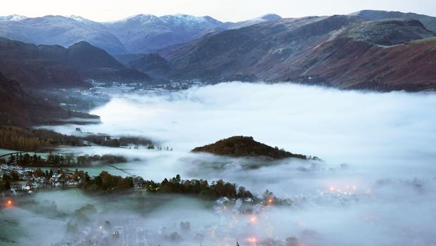 Mist caused by a temperature inversion over the town of Keswick in the Lake District after temperatures dipped to minus 2 degrees Celsius (Owen Humphreys/PA)