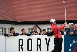 NEWCASTLE, NORTHERN IRELAND - MAY 28:  Rory McIlroy of Northern Ireland tees off on the 10th hole during the First Round of the Dubai Duty Free Irish Open Hosted by the Rory Foundation at Royal County Down Golf Club on May 28, 2015 in Newcastle, Northern Ireland.  (Photo by Ross Kinnaird/Getty Images)