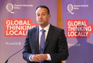 Press Eye - Belfast - Northern Ireland - 4th August 2017   The Irish Taoiseach (prime minister) Leo Varadkar, TD, arrives at Queens University, Belfast Northern Ireland to deliver speech on The Future of Relationships between Northern Ireland and Southern Ireland.  On Saturday, Mr Varadkar, who is the Republic of Ireland's first openly gay taoiseach, will attend a breakfast event as part of Belfast's gay pride festival.  Photo by Matt Mackey / Press Eye.