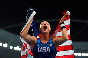 RIO DE JANEIRO, BRAZIL - AUGUST 19:  Sandi Morris of the United States celebrates winning silver in the Women's Pole Vault Final on Day 14 of the Rio 2016 Olympic Games at the Olympic Stadium on August 19, 2016 in Rio de Janeiro, Brazil.  (Photo by Laurence Griffiths/Getty Images)