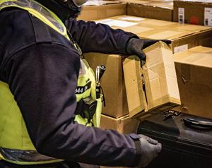 Parcels containing prescription drugs are seized at a Northern Ireland parcel office during Operation Pangea in March 2020 (Photo by Kevin Scott for Belfast Telegraph)