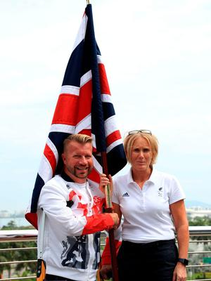 Lee Pearson with Chef de Mission Penny Briscoe during the ParalympicsGB Flagbearer announcement ahead of the 2016 Rio Paralympic Games, Brazil. PRESS ASSOCIATION Photo. Picture date: Tuesday September 6, 2016. Photo credit should read: Adam Davy/PA Wire. EDITORIAL USE ONLY