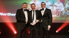 Winners: Manager Michael O'Neill picked up the Team of the Year award on behalf of his Northern Ireland side from Norman Whiteside and sponsor presenter Gary Sinnerton, MD The Home Design Group