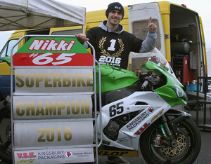 Number one: Antrim rider Nikki Coates clinched the 2016 Irish Superbike Championship at the weekend on board his Kingsbury Packaging Kawasaki