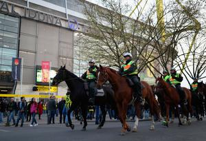 DORTMUND, GERMANY - APRIL 11:  Mounted police patrol outside the stadium prior to the UEFA Champions League Quarter Final first leg match between Borussia Dortmund and AS Monaco at Signal Iduna Park on April 11, 2017 in Dortmund, Germany.  (Photo by Maja Hitij/Bongarts/Getty Images)