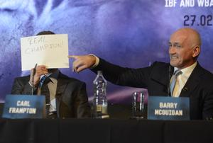 PACEMAKER BELFAST 18/11/2015 World Champion Carl Frampton plays to the audience  during a Press Conference at the Europa Hotel in Belfast on Wednesday, ahead of the super-bantamweight title fight in Manchester on the 27th February. Photo Colm Lenaghan/Pacemaker Press