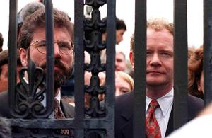 PACEMAKER BELFAST   On the first day of the ulster Peace Talks martin took this picture of Gerry Adams and martin McGuinness locked out of the stormont talks.  PHOTO MARTIN WRIGHT