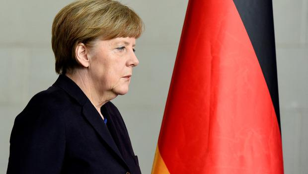 German Chancellor Angela Merkel arrives for a press conference follwing a Germanwings plane crash on March 24, 2015 in Berlin. An Airbus A320 belonging to Germanwings, low-cost airline owned by German flag carrier Lufthansa, en route from Barcelona to Duesseldorf disappeared from the radar screens.  AFP PHOTO / TOBIAS SCHWARZTOBIAS SCHWARZ/AFP/Getty Images