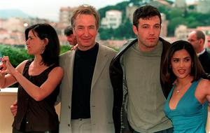 "1999: Linda Fiorentino, Alan Rickman, Ben Affleck and Salma Hayek on the rooftop of the Palais des Festivals, promoting their latest movie ""Dogma"", directed by Kevin Smith during the 52nd Annual International Cannes Film Festival 1999. Neil Munns/PA Wire"