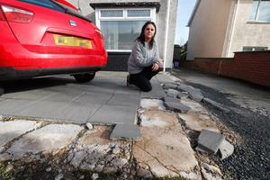 Madeline Conn spent £4000 to get her driveway flagged.. Picture Colm O'Reilly Sunday Life 27-02-2020