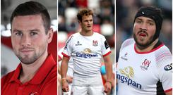 Are Ulster trio (from left) John Cooney, Billy Burns and Tom O'Toole set for Ireland honours in the Six Nations?