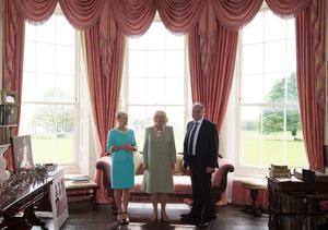 The Duchess of Cornwall with owners Constance Cassidy (left) and Eddie Walsh during a visit to Lissadell House, Sligo - W.B.Yeats summer house - on day two of a four day visit to Ireland. PRESS ASSOCIATION Photo. Picture date: Wednesday May 20, 2015. See PA story ROYAL Ireland. Photo credit should read: Brian Lawless/PA Wire