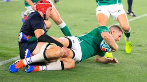 Andrew Conway scores Ireland's fourth try (Adam Davy/PA)
