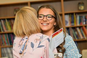 Pacemaker Press Intl 150819  Pupils at Lagan College celebrate their A Level results today.  This year was Lagan's best year ever with students receiving a 10% rise in grades. Pictured is Dervla Smyth who got 3 A Grades opening her results . Photo David McCormick/Pacemaker Press
