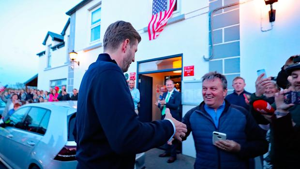 Eric Trump, the son of US President Donald Trump, meets locals in the village of Doonbeg in County Clare, on the first day of US President Donald Trump's visit to the Republic of Ireland. PRESS ASSOCIATION Photo. Picture date: Wednesday June 5, 2019. See PA story IRISH Trump. Photo credit should read: Niall Carson/PA Wire