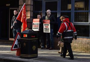 "?Russell Pritchard  13th March 2015 Public services in Northern Irelands are being disrupted by a strike by some public sector trade unions.  The strike is affecting education, public transport and administration.  The Department of Health has said arrangements have been put in place to ensure ""critical services will be maintained"". One of the picket lines at Gt.Victoria Street ?Russell Pritchard / Presseye"