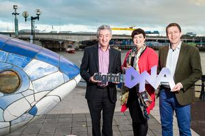 John McGrillen; Tourism NI and Kathryn Pyper; Engaged Web with Gareth Quinn; Digital DNA launching the Tourism Digital DNA event taking place at Titanic Belfast 12th November 2015. Picture: Elaine Hill