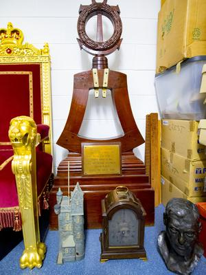 Ornamental stand  for the bell from HMS Ulster.  Stormont art work at a lock up on the outskirts of Belfast on May 10th 2018 (Photo by Kevin Scott / Belfast Telegraph)