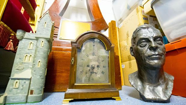 Ulster Tower , Mantle Clock and a Bust of Fredrick Temple  Stormont art work at a lock up on the outskirts of Belfast on May 10th 2018 (Photo by Kevin Scott / Belfast Telegraph)