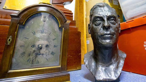 Bust of Fredrick Temple  Stormont art work at a lock up on the outskirts of Belfast on May 10th 2018 (Photo by Kevin Scott / Belfast Telegraph)