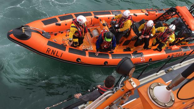 Canoeists rescued off rocks at Ballycastle. Pic: RNLI